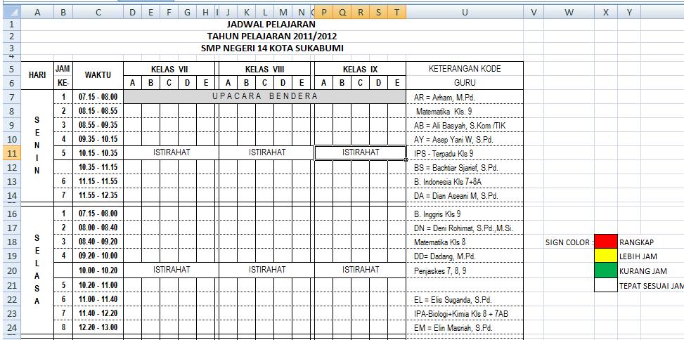 Cara Membuat Jadwal Pelajaran Dengan Ms. Excel