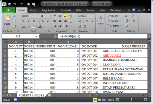 Database pada Excel