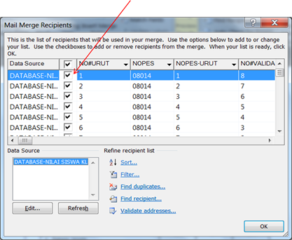 Kotak Dialog Edit Database dari MS.Word